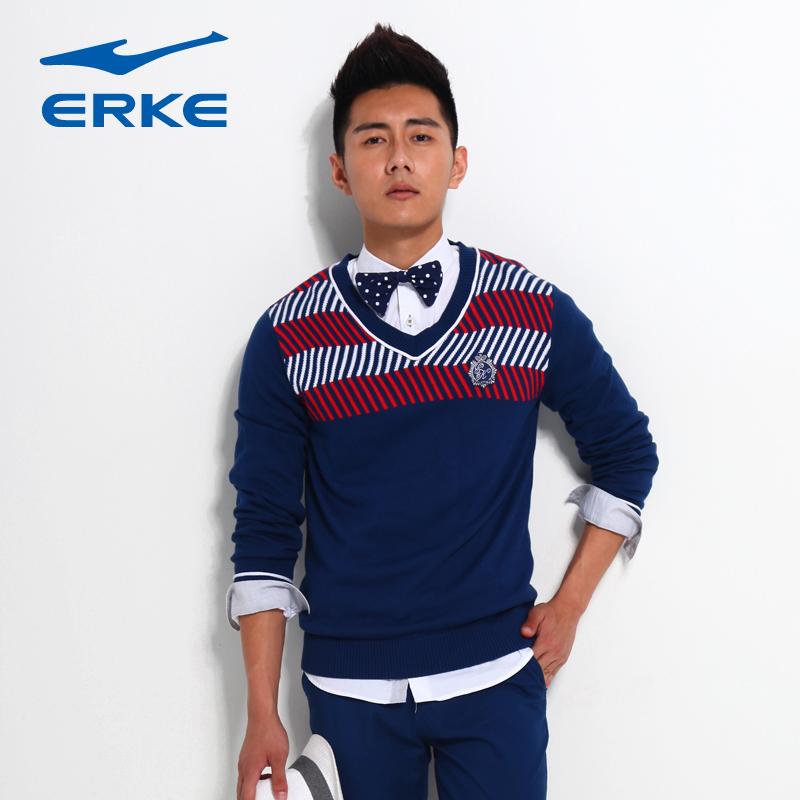Erke Hongxing Erke tennis áo len áo thun mùa thu V-Cổ áo len nam áo len thể thao 11213350204