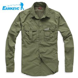 Ikewen quần áo ngoài trời đi bộ đường dài cắm trại đi bộ đường dài nhanh chóng làm khô quần áo của nam giới hai tay áo áo sơ mi dài tay thoáng khí nhanh