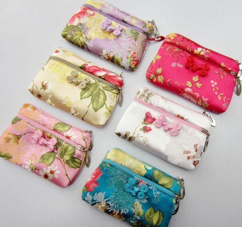 2018 mới thời trang lụa đôi dây kéo ví lụa thổ cẩm ví lụa cổ điển ví đặc biệt cung cấp
