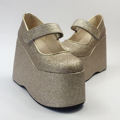 taobao agent Antaina bridal shoes wedding shoes gold sequin shoes heightening shoes platform platform single shoes wild 9096