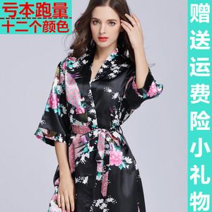Mùa hè phần mỏng đặc biệt cung cấp đồ ngủ băng lụa áo ngủ nữ kích thước lớn áo choàng tắm nữ lụa sexy nightdress nhà dịch vụ