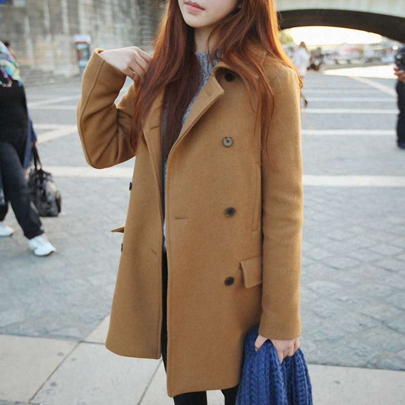 19d2944f57f1 Details about Womens Slim Fit Trench Long Coat Double-breasted Wool Blend  Peacoat Lapel Jacket