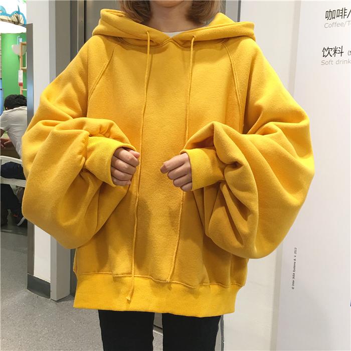 Chất béo chị mùa thu và mùa đông cộng với phân bón XL của phụ nữ Hàn Quốc phiên bản của ulzzang lỏng trùm đầu áo thun áo len nữ sinh viên triều