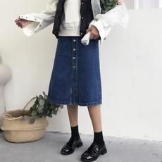 (现货)8507【模特实拍】2018新品春夏韩版高腰中长款牛仔半身裙