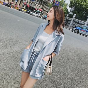 伊米莉儿原创纯色时尚chic风新品学院系韩版休闲套装两件套女夏