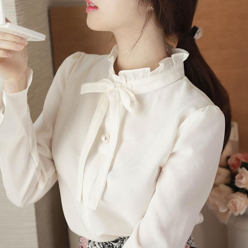 2018春季新款小清新衬衫女长袖喇叭袖立领蝴蝶结打底衫女
