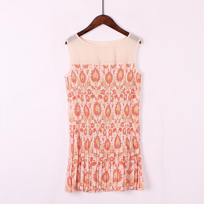 Thời trang giản dị phong cách mục vụ tươi mỏng giảm béo xếp li màu sắc tương phản khâu vest mùa hè mới dây đeo nhỏ thủy triều
