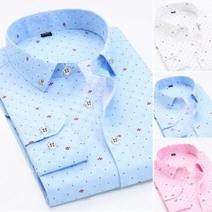 秋季男士长袖印花钻扣衬衫韩版修身日系上衣休闲衬衣B262-C09-P30