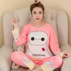 725#春秋季长袖睡衣少女可爱卡通大白家居服套装两件套