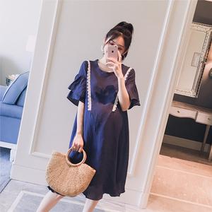 Thai sản mặc 2018 mùa hè mới Hàn Quốc phiên bản của trumpet tay áo ren side vòng cổ Một phiên bản là mỏng thời trang phụ nữ mang thai ăn mặc