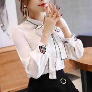 實拍3846#2018春雪紡衫長袖打底襯衫女修身洋氣小衫顯瘦上衣