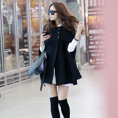2016新款大码女装韩版斗篷毛呢大衣中长款披风披肩外套上衣无袖