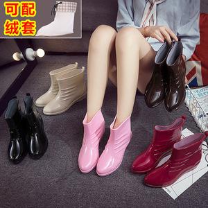 Thời trang dễ thương mưa khởi động mưa khởi động nữ ống ngắn giày không thấm nước giày cao su bao bọc ngoài người lớn Hàn Quốc nước khởi động nhà bếp trượt mùa hè