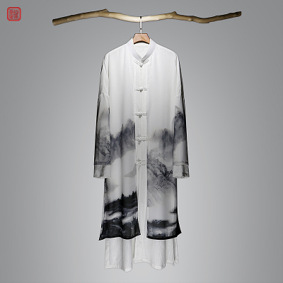 2018 mới áo gió nam mùa xuân và mùa thu hanfu phong cách áo khoác nam mỏng retro Trung Quốc phong cách áo dài Áo gió