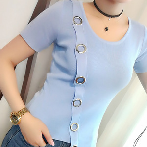 包邮 圆环针织衫女夏韩版圆领短袖圆圈斜襟T恤金属装饰不规则上衣