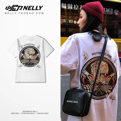 Real shot chic Hàn Quốc hoang dã mùa hè retro in graffiti side vòng cổ lỏng ngắn tay T-Shirt đường phố khiêu vũ nam giới và phụ nữ áo thun nike Áo phông ngắn