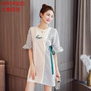 大码女装2018新款时尚宽松显瘦印花条纹连衣裙