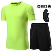 Thể thao phù hợp với nam mùa hè độ ẩm hấp thụ nhanh chóng làm khô thể dục bóng đá ngắn tay quần short t-shirt năm-quần thể thao chạy quần áo