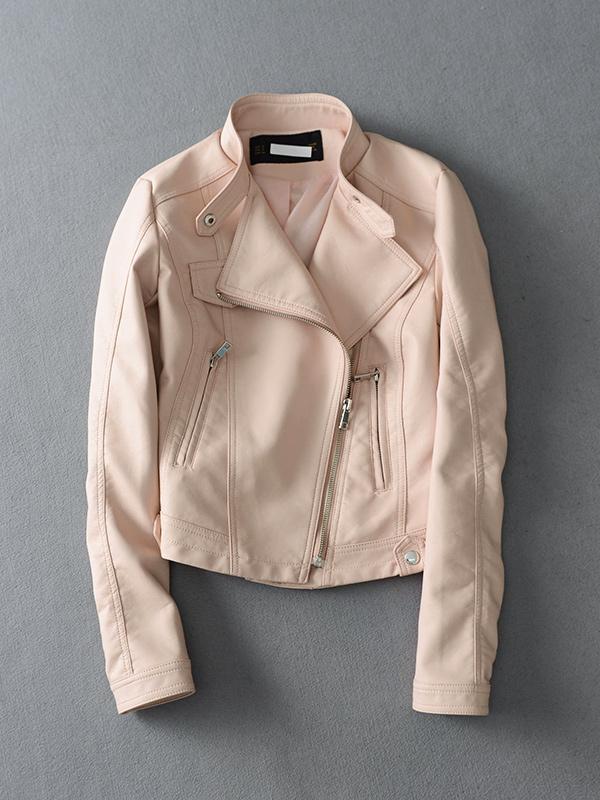 BZW312 mô hình Châu Âu và Mỹ cổ áo dây kéo đầu máy da ngắn áo khoác nữ treo giá 1799 nhân dân tệ