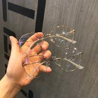 Retro đơn giản siêu nhẹ kim loại tròn khung phẳng gương nữ mỏng khung lưới hoang dã nghệ thuật màu đỏ với kính cận thị khung nam
