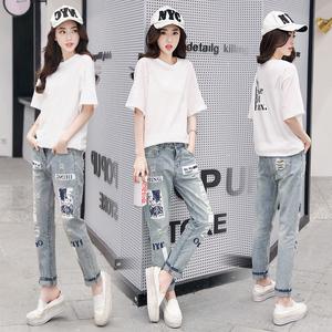 2018夏季新款女式时尚套装牛仔裤T恤韩版休闲两件套装YNF907P115