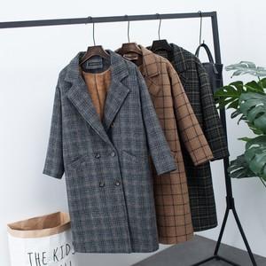 2018 mới mùa thu cộng với nhung dày áo len nữ Hàn Quốc phiên bản của đoạn dài lỏng kích thước lớn kẻ sọc áo len