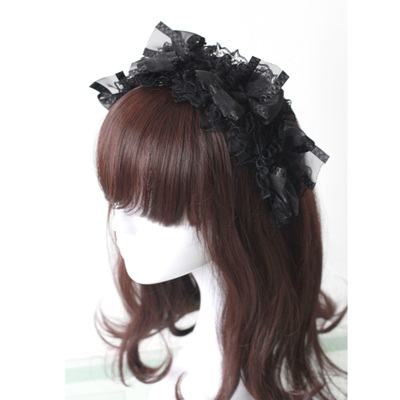 taobao agent Soufflesong black gothic lolita headband with bow lace ribbon