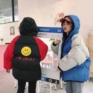9922#  实拍 冬季女装韩版卡通撞色加厚连帽面包服棉服棉衣外套潮