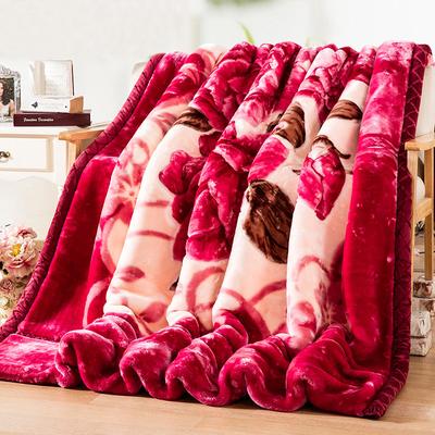 拉舍尔毛毯被子加厚冬季双层保暖10斤珊瑚绒毯子床单冬天绒毛红色