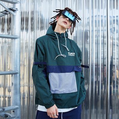 TAKA ORIGINAL phản xạ nối chức năng ngoài trời áo gió áo thun nửa dây kéo áo khoác nam và nữ tide thương hiệu Áo gió