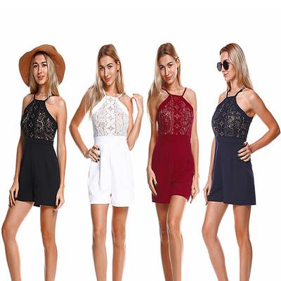 实拍现货速卖通亚马逊墩煌ebay外贸欧美风蕾丝吊带连体裤9885