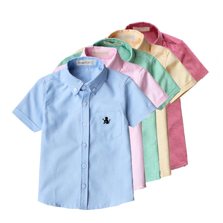 Trai áo sơ mi ngắn tay 2017 mùa hè mới làn sóng trẻ em màu rắn giản dị cổ áo sơ mi quần áo trẻ em cậu bé mùa hè ăn mặc