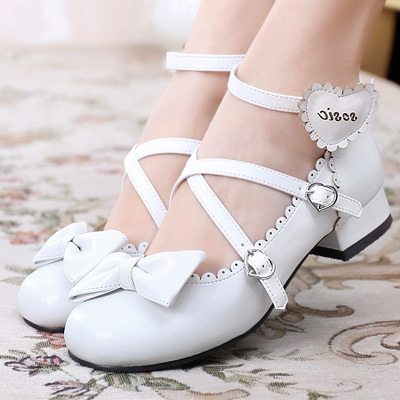 taobao agent Lolita cute heart cross straps student sweet bow round head Lolita small leather shoes