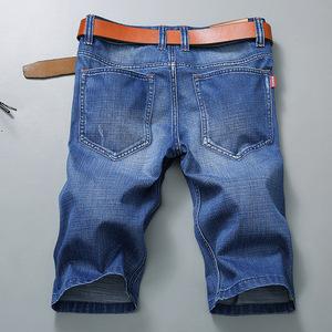 夏季薄款宽松大码男士牛仔短裤男直筒五分裤休闲中裤5分裤修身男