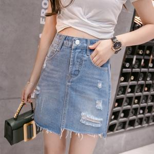 908实拍2018夏装新款毛边淑女风A字群女短裙牛仔半身裙包臀裙