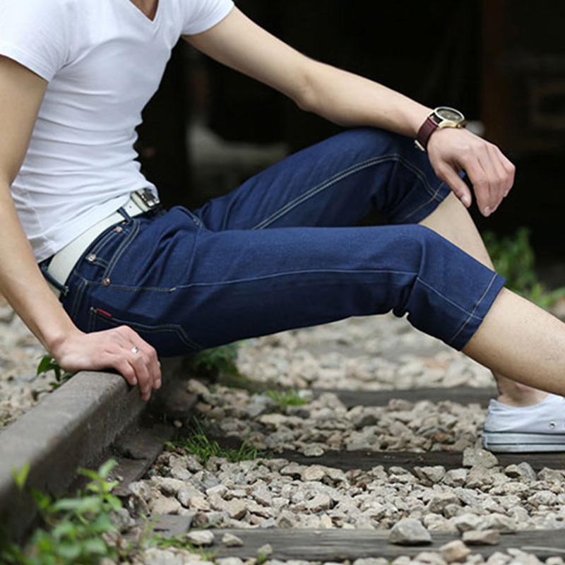 Mùa hè phần mỏng đàn hồi cao quần short denim nam cắt quần đàn hồi chân Mỏng thanh niên nam quần 7 quần