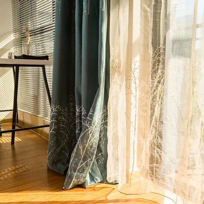 树刺绣花美式乡村田园窗帘成品客厅卧室飘窗纯