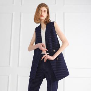 Vest dài 2018 mùa thu mới vest áo mùa hè đi lại mỏng sọc phù hợp với cổ áo vest nữ