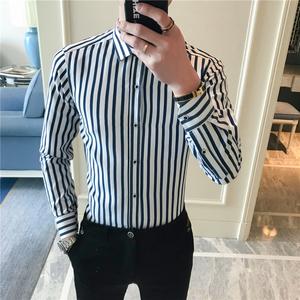 尊蓝风男士英伦休闲竖条衬衫条纹长袖韩版修身衬衣B262-C86-P25