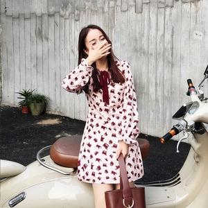 2017春季甜美小清新猫咪长袖雪纺印花修身连衣裙泡泡袖打底裙