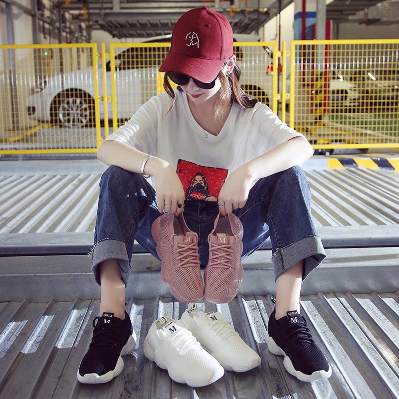 袜子鞋女夏季新款2018百搭韩版运动鞋女ins超火的鞋子老爹鞋女
