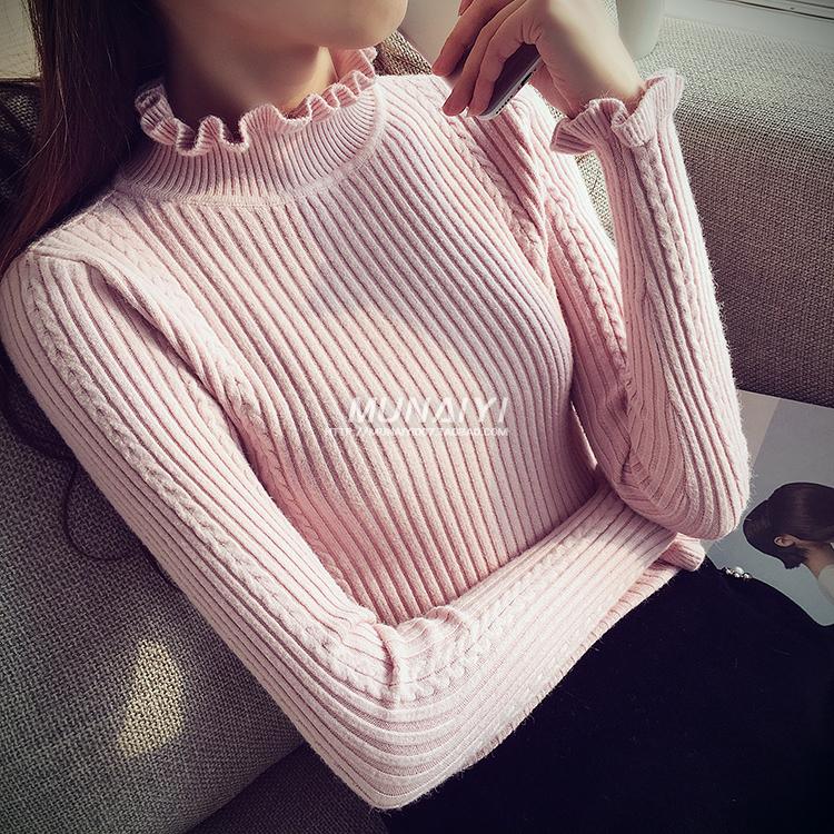 2018 Hàn Quốc phiên bản của mùa xuân và mùa thu nửa cao cổ áo hoang dã knit đáy áo sơ mi nữ dài tay áo nấm cổ áo vớ áo len áo len