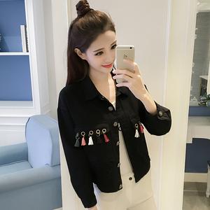 1715# 实拍牛仔短外套女韩版学生修身欧洲站长袖夹克个性流苏外衣