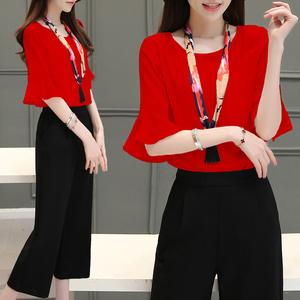 622  韩版阔腿裤七分裤短袖T恤女喇叭袖夏季两件套新款时尚潮