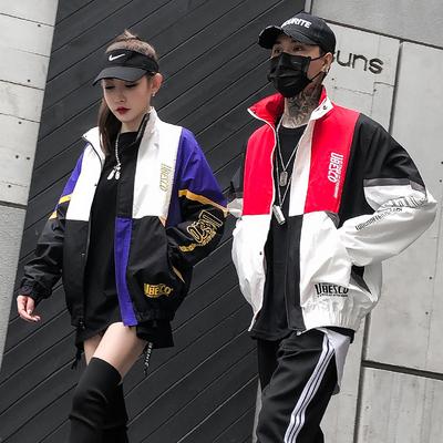 Mùa xuân và Mùa Thu Bóng Chày Jersey Nam của Hàn Quốc Thể Thao Hip Hop Áo Khoác Tương Phản Lớp Sinh Viên Trendy Loose Vài Áo Khoác Đồng phục bóng chày