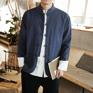 中国风春装居士服男 大码休闲唐装复古盘扣夹克男外套 JK601 P95