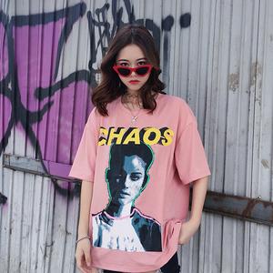 3007#实拍实价 欧美风bf韩版ulzzang宽松人物学生短袖T恤女