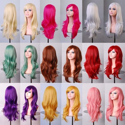 taobao agent Long hair female hair 70cm color holiday wig anime dance party cosplay long curly hair wig