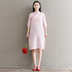 实拍2018春夏新款文艺复古小清新棉麻格子中式改良旗袍连衣裙