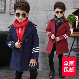 1815童装男童呢子大衣2016冬装新款中大儿童中长款外套韩版
